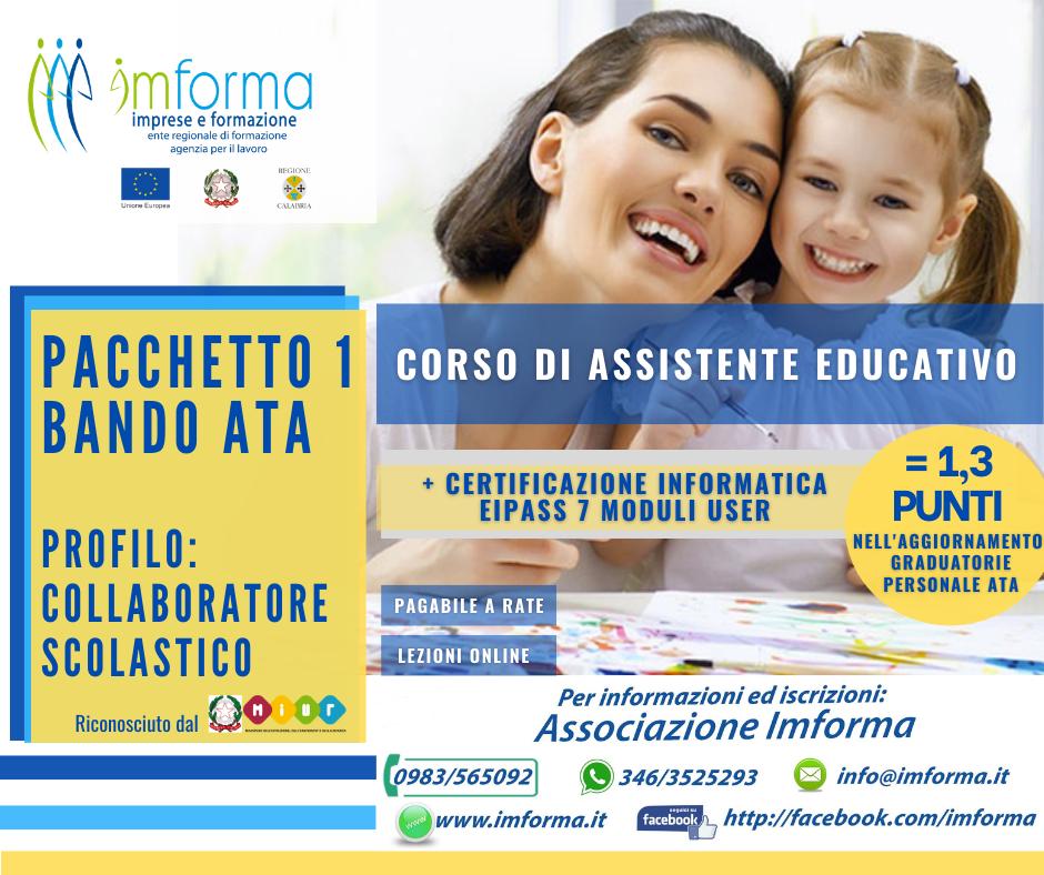 Pacchetto 1 - Assistente educativo + EIPASS 7 Moduli User