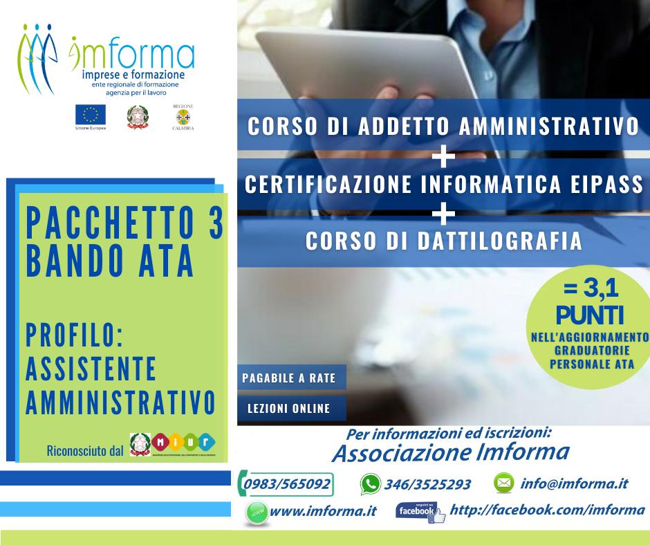 Pacchetto 3 - Addetto amministrativo + EIPASS 7 Moduli User + Dattilografia