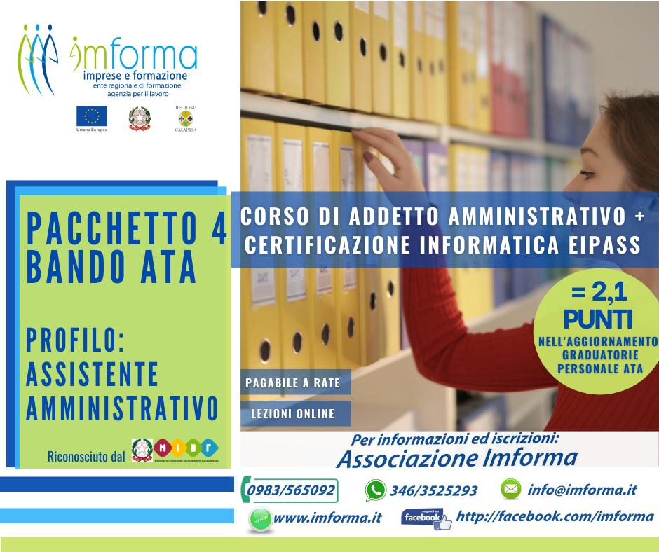 Pacchetto 4 - Addetto amministrativo + EIPASS 7 Moduli User